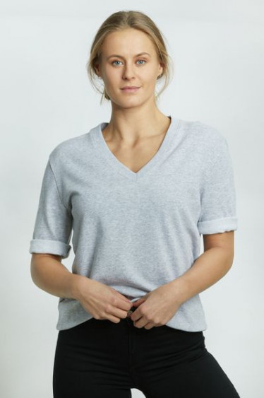 Anita Top V-Neck Light Grey