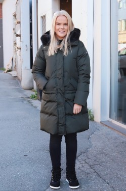 Down Coat Faux Fur Dark Green