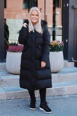 Down Coat Long Faux Fur Black