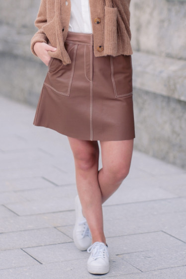 Globa 7 Leather Skirt Brown