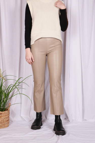 GLORIA 3 Leather Pants Light Grey