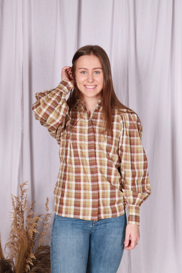 Marcelle Shirt Beige Check