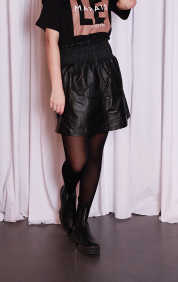Sandila Leather Skirt Black