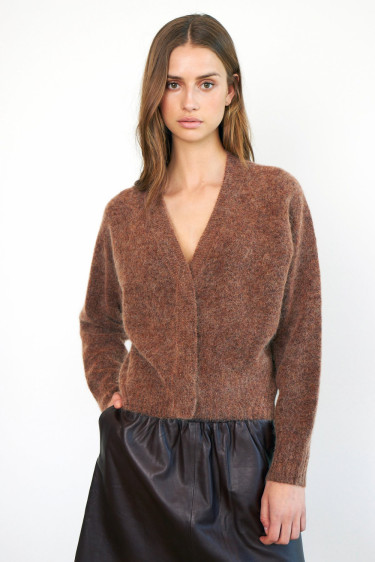 Brook Knit Boxy Cardigan Copper Brown