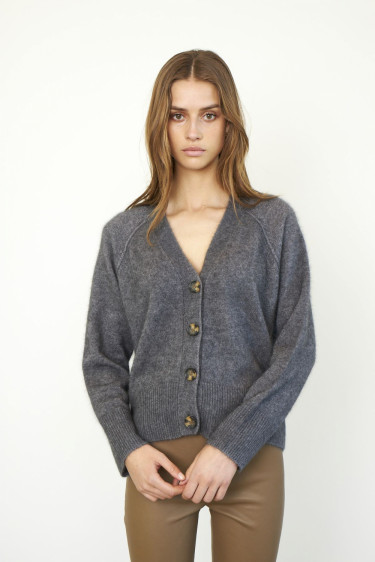 Ezra Knit Cardigan Dark grey mel