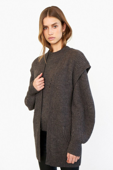 Blanche Knit Waistcoat Black Olive