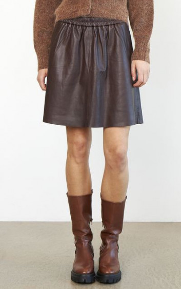 Melvin Leather Mini Skirt Brown Stone