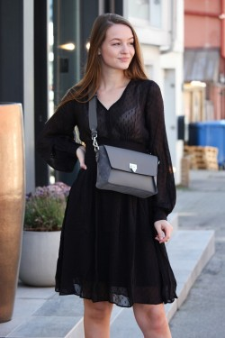 Delicate Semi Couture Bell Sleeve Dress Black