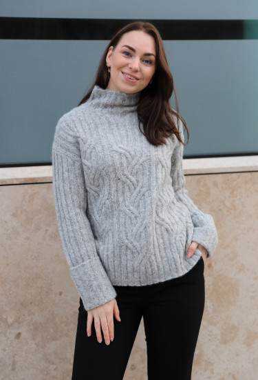 Mirrored Cable Turtleneck Light Grey