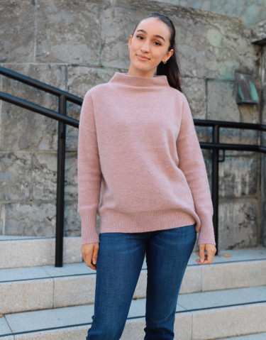 BOILED FUNNEL NK PULLOVER PINK SHELL
