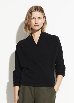 Boiled Cashmere Wrap Front Pullover Black
