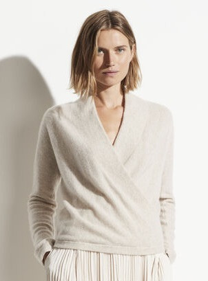Boiled Cashmere Wrap Front Pullover Oat