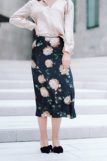 Painted Rose Slip Skirt