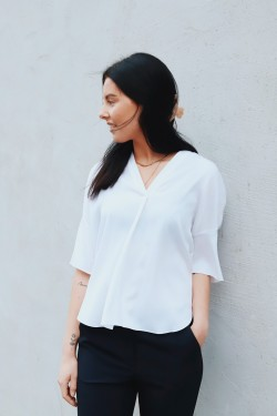 Shirred V-Neck Blouse