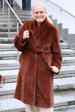 Long Plush Coat Mahogany