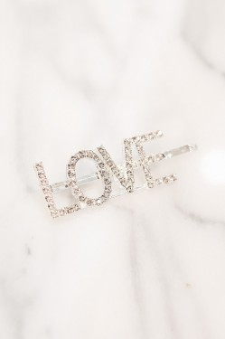Spell Me Crystal Hairpin LOVE Silver