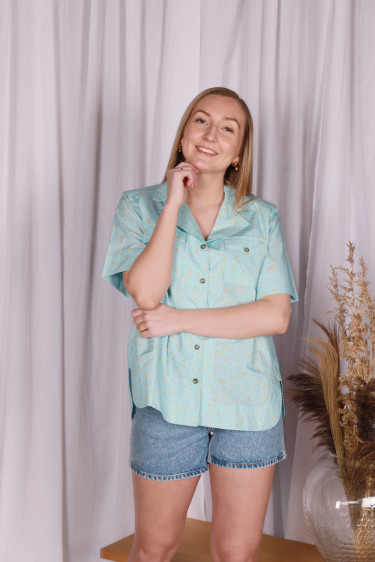 Printed Cotton Poplin Shirt Corydalis Blue