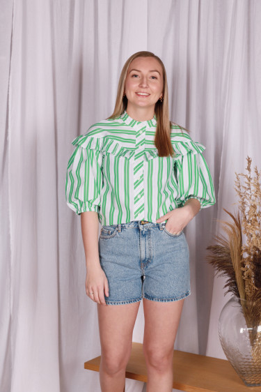Stripe Cotton Blouse Kelly Green