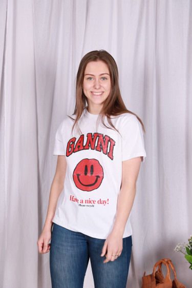 Basic Cotton Jersey T-Shirt Red Smiley