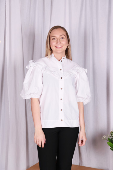 Cotton Poplin Blouse Bright White