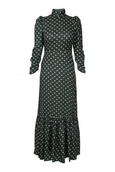 Grace Long Dress Dots Dk Green