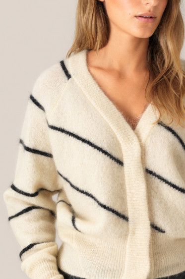 Brook Knit Striped Boxy Cardigan Eggnog