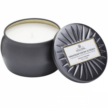 Dec. Tin Candle Makassar Ebony &  Peach